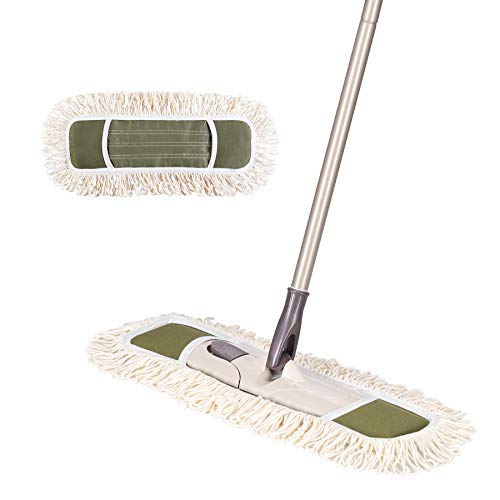 Eyliden Dust Mop with 2 Reusable Washable Pads - One Touch Replacement, Height Adjustable Handle, Wet & Dry Mops for Floor Cleaning, Hardwood, Laminate, Tile Flooring Push Dust Broom (Army Green)