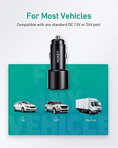 AUKEY Auto Ladegerät 36W Mini Zigarettenanzünder USB Ladegerät 12V KFZ Ladegerät 2-Port 12W/ 1.5A mit Schwarze Mattierte Schale für iPhone XR/Xs Max, Samsung Galaxy S8, Huawei Und mehr