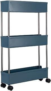 WORTHBUY キッチンワゴン キッチンラック 3段 キャスター付き 超スリム 収納ワゴン 幅39 x 奥行11.5 x 高さ62.5cm キッチン・部屋・居間・トイレ・浴室用 組立簡単 ネイビー