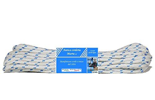 Corda Antica Corderia Marra - Treccia Nautica matassa mm 6, 30 m, bianca con segnalino azzurro