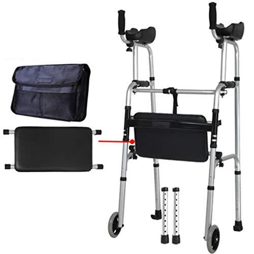 Rollatoren Älteres Gehhilfe-Laufrad mit Armstütze Gehhilfe mit Kissen Dicke Aluminiumlegierung Behinderter 4-Fuß-Gehstock-Rehabilitations-Gehhilfe (Color : Silver, Size : 54x52cm)