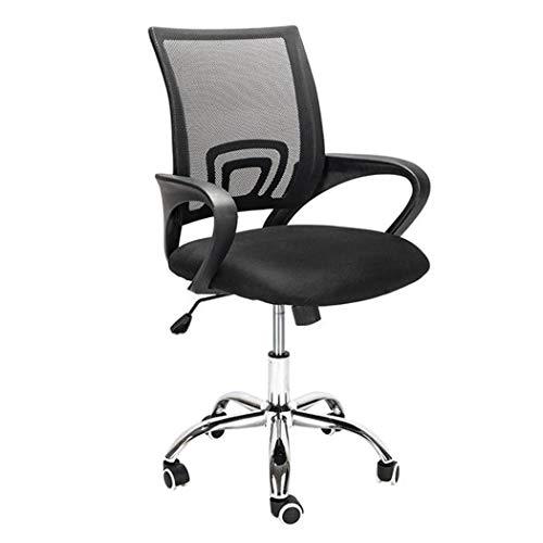 Fiunkes Schwarz Swivel Netz-Bürostuhl Höhenverstellbar 360 Umdrehung Computer Aufgabe Stuhl mit Stahlfüßen und PU-Silent-Rad, für Konferenz Home Office