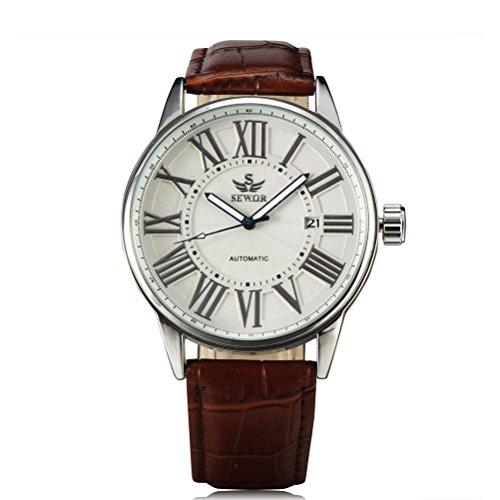 PIXNOR Reloj mecánico automático para hombre con correa – marrón, plata y blanco