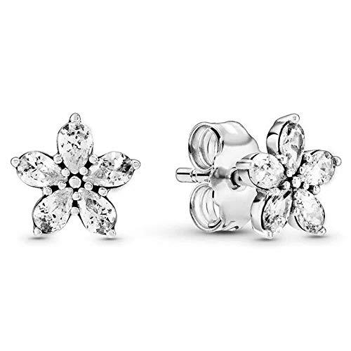 LILANG Pandora 925 Jewelry Bracelet Natural Auténtica Plata esterlina Sparkling Snowflake Europe Stud Pendientes para Abalorios de Moda Adecuado para Mujeres Regalo de Bricolaje