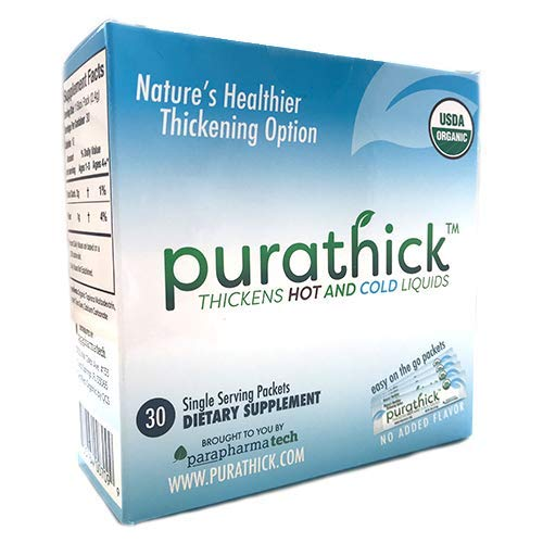 USDA Organic Purathick Box of 30 Individual Serving Sticks, Thickens Hot and Cold Liquids for People with Dysphagia (1 Box)