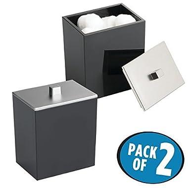 mDesign Bathroom Vanity Storage Organizer Canister Jars for Q tips, Cotton Swabs, Cotton Rounds, Cotton Balls, Makeup Sponges, Bath Salts - Pack of 2, Black/Brushed Nickel