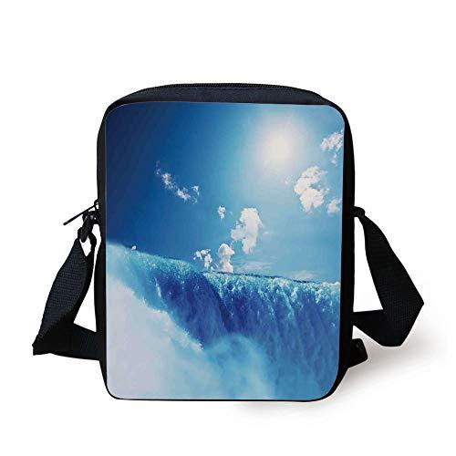 Waterfall,Niagara Falls and Clear Sky Landscape Image Majestic River Nature Theme Artistic Print,Blue Print Kids Crossbody Messenger Bag Purse