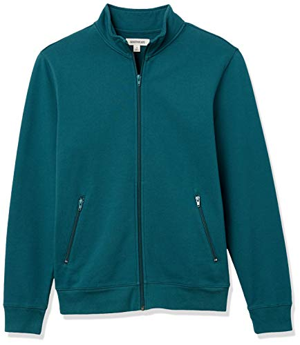 Amazon Brand - Goodthreads Men's Lightweight French Terry Track Jacket, Teal, XX-Large