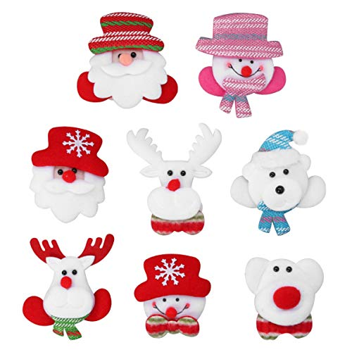 Toyvian - Broches de Navidad con luces LED, 8 unidades, diseño de Papá Noel