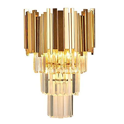 Aozu Lámpara de Pared de Cristal de Lujo Moderna de Mediados de Siglo Pantalla de Vidrio de Hierro Luz de Montaje en Pared Aplique Industrial Sala de Estar Pasillo Decoración Interior Dorado