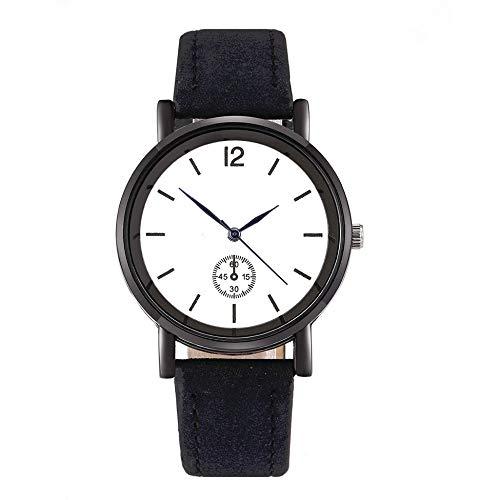 YLXAJKJGS-XCH SC033 Reloj de Cuarzo con Esfera Redonda de Cuero de Gamuza Informal para Mujer, Correa de Cuero PU, Reloj de Ocio, Reloj de Pulsera, Color sólido