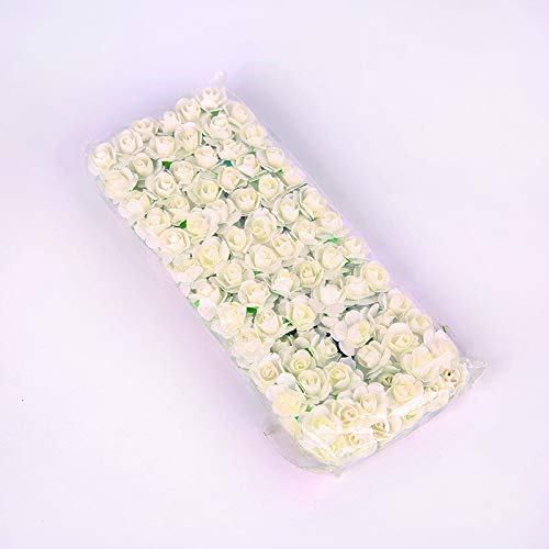 144Pcs 1.5cm Mini Lace Paper Rose Artificial Wedding Flower Decoration DIY Garland Rose Bear Accessories Craft Flower yixianjiacheng (Color : Milky White, Size : 72pcs)