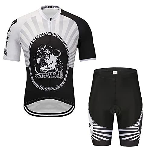 JQKA Conjunto de Traje de Ciclismo Hombre, Ropa Maillot Bicicleta Mangas Cortas y 5D Gel Pad Culotte para Bicicleta MTB Ciclista(Size:XX-Grande,Color:Blanco Negro)