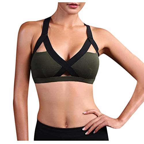 Luoluoluo Sport-bh voor dames, met gevoerde push-upbeha, sterke grip, sportief vest, bovenstuk, bustier, fitness, hardlopen, joggen, pilates, yogabra
