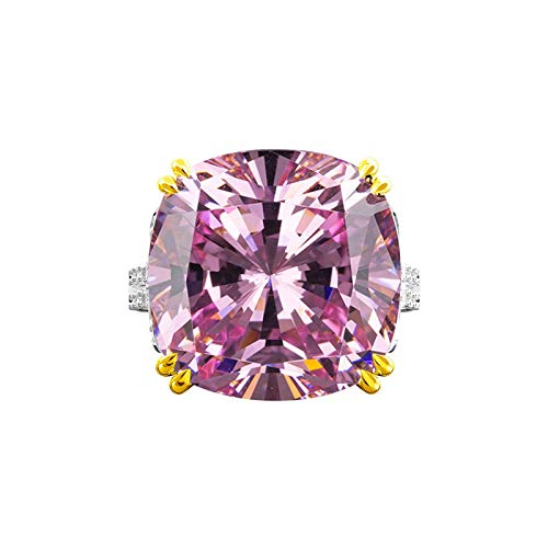 Adokiss Jewellery Sterling Silver Ring Cubic Zirconia,Engagement Ring Women Square Cushion Cut Pink Crystal 14x14mm Size L 1/2,Birthday Gift for Your Wife/Girfirend/Mother