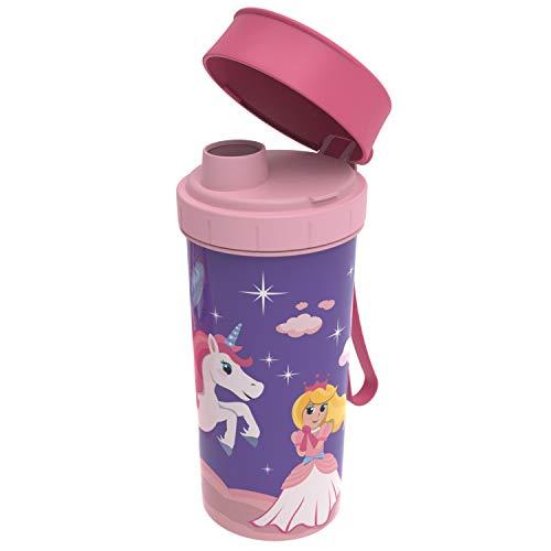 Rotho Memory Kids Trinkflasche 0,4l mit Deckel, Kunststoff (PP) BPA-frei, rosa mit motiv