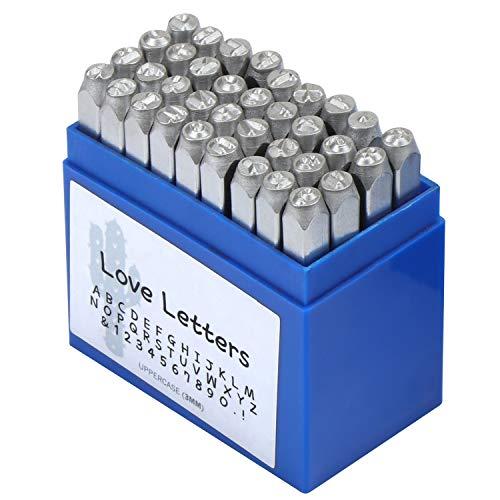 WiMas 36PCS Zahlen und Buchstaben Punch Set, Schlagbuchstaben, Metall und Leder Stamp, 1/8 Zoll 3mm, Splitter