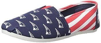NFL New England Patriots Women s Canvas Stripe Shoes Large  9  Blue