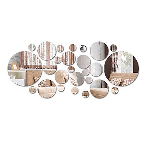 Gobesty Miroirs Muraux Rond, 3D Amovible Miroir Autocollant Stickers avec Adhésif pour Chambre Salon Décoration dintérieur 26 pcs