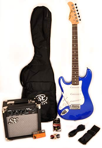 Left Handed Beginner Guitar Package 3/4 Size BLUE GUITAR PACK SX RST 3/4 EB