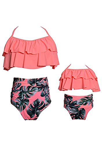 WIWIQS Bathing Suits Tankini Swimsuits for Mommy and Me High Waisted Retro Swimsuit Two Piece Peach 140
