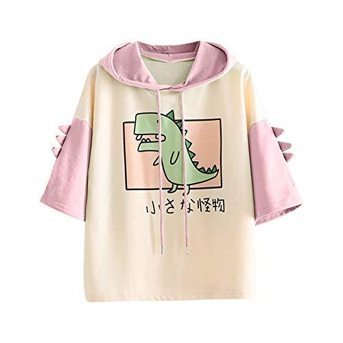 MRULIC Damen Sweatshirt Hoodie Tier Niedlich Dinosaurier Hoody Tops Kapuzenpullover Kurzarm Pullover Drucken LäSsige Lose Frauen Shirts Blusen Pullover Oberteil Pullover T-Shirt(A3-Rosa,XL)