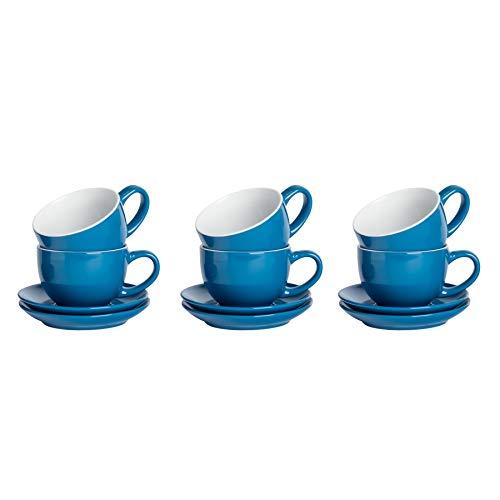 Argon Tableware 12 Piezas de Color Cappuccino y platillo Set - Estilo Moderno Porcelana té y Las Tazas de café - Azul - 250ml