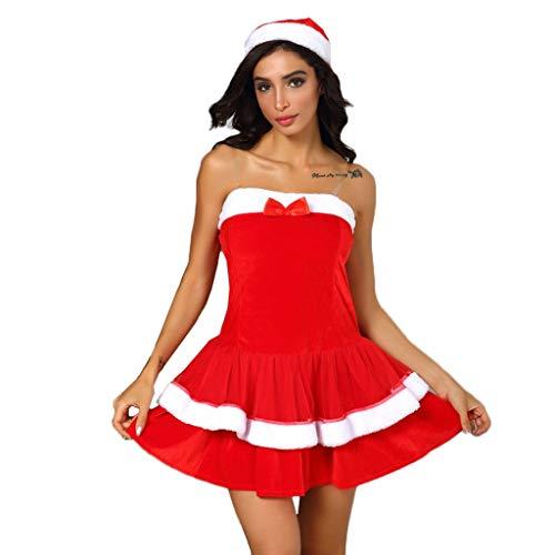 Vrouwen Kerst Rol Speel Kostuum, Dames Mouwloos Bal Jurk Boeg Dubbele Hem Mini Jurk Party Cosplay Jurk