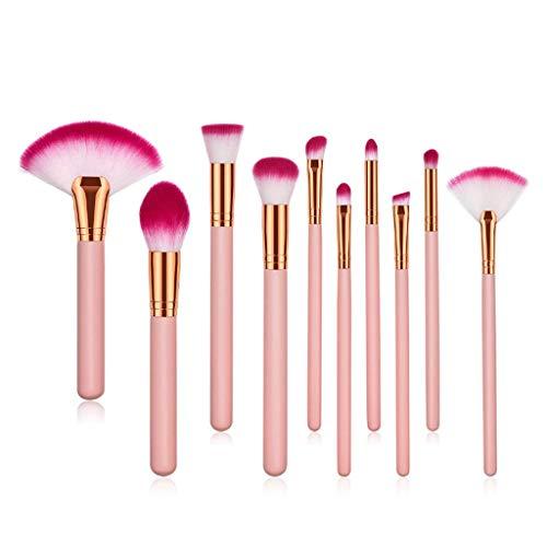 Eyeshadow Brushes Brosse à maquillage professionnel haut de gamme Brosse à poudre en poudre haut de gamme Brosse à dents en métal Brosse à brosse à sourcils Brosse à dents en bois (10 pièces)