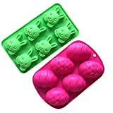 ZJL220 - Moldes para fondant de silicona en forma de huevo de conejo para decoración de tartas de Pascua, 2 unidades