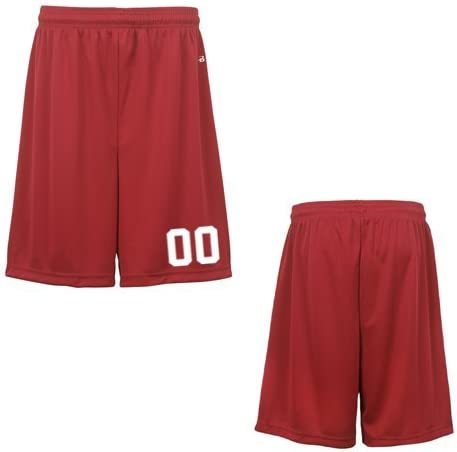 Red Youth XL (Custom with Uniform #) Athletic Wicking Sports Shorts
