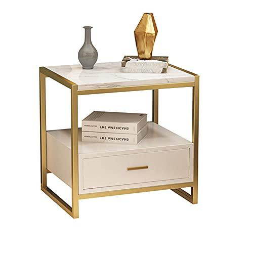 Sakilor Mesitas de noche Modernas minimalistas para plantas de dormitorio, escritorios estrechos pequeños gabinete de almacenamiento de lujo de mármol metal cajón mesa de noche (dorado)