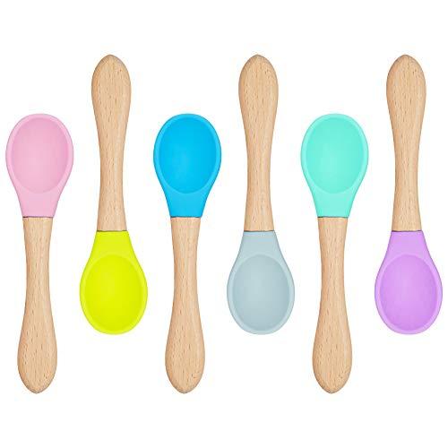 tiopeia 6er Set Bambus Fütterungslöffel, Kinderlöffel mit Weiche Silikonspitze, Umweltfreundlich Babybesteck, BPA frei, Sicherheit Esslöffel für Babies