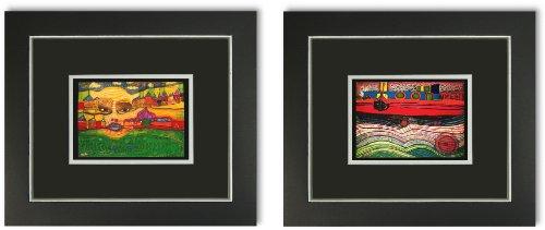 Kunstdruck Poster 2 Bilder Hundertwasser mit Rahmen