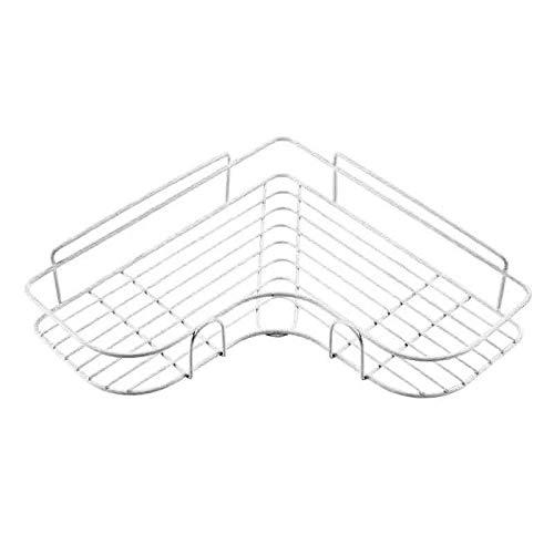 PPuujia Estante de baño de cocina de baño con marco de esquina para ducha de hierro forjado, soporte de almacenamiento de champú con ventosa accesorios de baño (color blanco 02 (1 unidad)