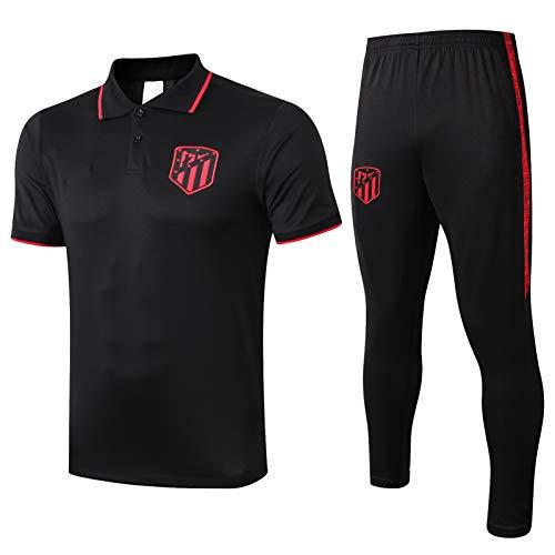 LQRYJDZ Ropa de Juego de fútbol Atletico Madridmen Sports Funcionamiento de Deportes Camiseta de Manga Corta + Pantalones Largos Piel Ajustada Seco rápido Gimnasio Gimnasio Trajes de Yoga (Size : M)