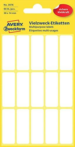Avery Zweckform 3076 Haushaltsetiketten selbstklebend (38x14mm, 90 Aufkleber auf 6 Bogen, Vielzweck-Etiketten für Haushalt, Schule und Büro zum Beschriften und Kennzeichnen) blanko, weiß