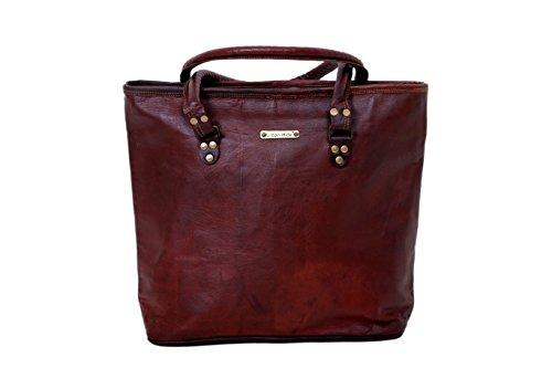 Urbankrafted Handmade 16' Women Vintage Style Genuine Brown Leather Tote Shoulder Shoppers Bag Handmade Purse