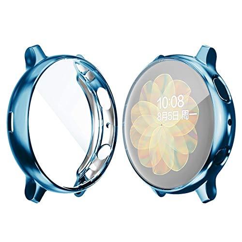 DACHENGJIN Serie de Relojes Inteligentes for la Galaxia de Samsung del Reloj Activo 2 40mm Sombrero-Prince Caso de TPU electrochapa Cobertura Total (Negro) (Color : Blue)
