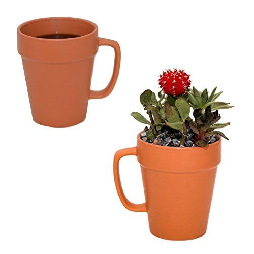 Culver 14-ounce Flower Pot Ceramic Mug, Set of 2 (Terra Cotta Color)