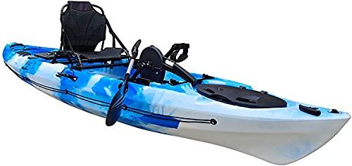 Kayak da pesca con trasmissione a pedale a elica singola da 12  con sistema di timone e retromarcia istantanea, supporto per la pagaia e lo schienale verticale Sedile in alluminio per persona Kay