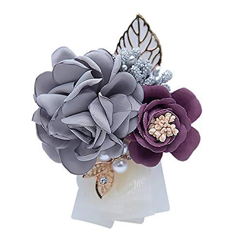 Dosige broche bloem bruiloft roos takken knoopsluiting bruiloft bruid pak bruid accessoires Lichtgrijs