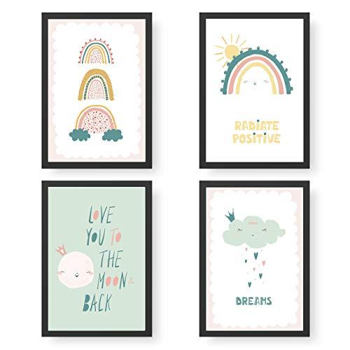 Papierdrachen 4 Kinder Premium Poster DIN A4 | Wandbilder für Kinderzimmer - Regenbogen - hochwertige Kunstdrucke | Dekoration | Wandbild Set