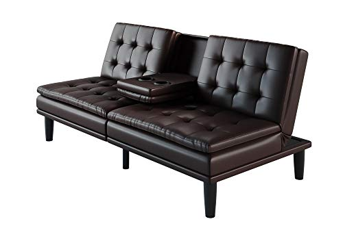 Memory Foam Faux Leather Pillowtop Futon with Cupholder, Dark Brown Faux Leather Colors Ideal for Small Living Spaces