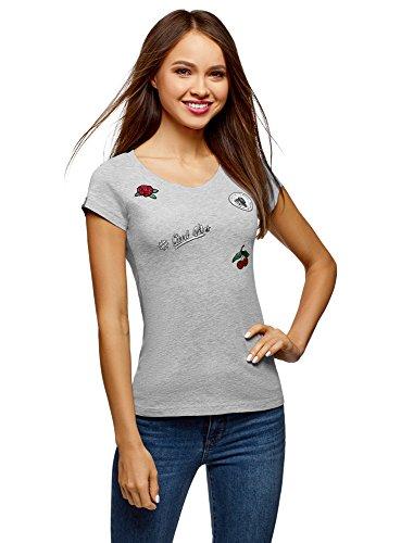 oodji Ultra Mujer Camiseta de Algodón con Parches, Gris, ES 42 / L
