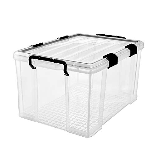 3-Pack Waterproof Plastic Storage Box 90QT85L Stackable Latch Box Durable Clear Multi-Purpose Locking Bin with Lid and Black Clips for Bedding Toys Shoes and Clothes