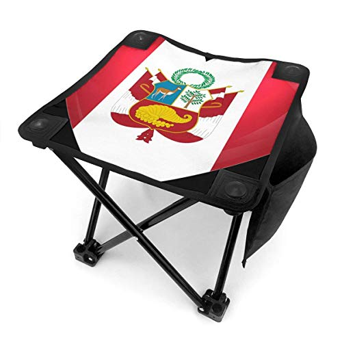 Camping Hocker Peru Heart Flag Small Camping Stool Fishing Travel Outdoor Folding Stool Portable Oxford Cloth Slacker Stool with Side Pocket for Camping Walking Hunting Hiking Picnic Garden BBQ