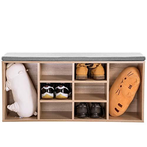 Zapatero de madera para almacenamiento de zapatos, organizador de madera natural con cojín de asiento para pasillo, tamaño 104 x 30 x 48 cm (ancho x profundidad x altura) (roble)