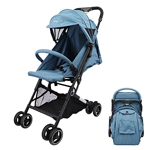 YOLEO Lightweight Stroller, Pushchair with Five-Point Harness, One Hand Foldable Pram, Compact and Folding Travel Buggy (Blue)