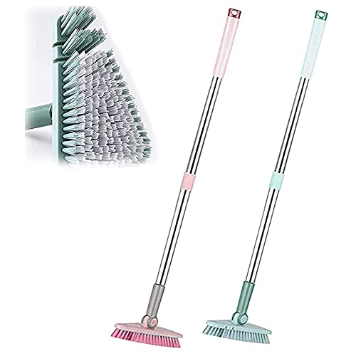 Nuevo cepillo giratorio escalable para fregar pisos, cepillo para fregar tinas y azulejos con mango largo de 37 pulgadas, cabeza triangular extraíble, buenos agarres (Pink+Blue)